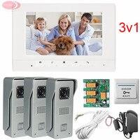 3v1 Video Door Phone IR Night Doorbell Camera For 3 Doors 3 Door Exits 7inch Screen