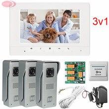 3v1 Video Door Phone IR Night Doorbell Camera For 3 Doors 3 Door Exits 7inch Screen lcd Free Shipping (5 years warranty)
