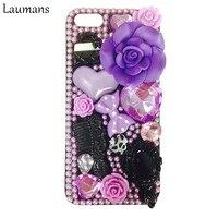 Laumans 3D רוז פרח מקרה עבור Iphone X ריינסטון גביש יהלום קליפות אהבה bow הקשיח מחשב כריכה אחורית עבור 4S 5S 5c 6 6 s 7 8 בתוספת