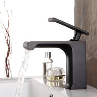 Electroplate Black Kitchen Faucets Square Brass Waterfall Bathroom Faucet Antique Single Handle Single Hole Sink Mixer