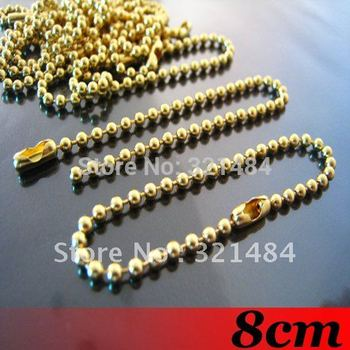 Free ship! Gold Plated 1000PCS 8cm 2.4mm Ball Chains Link with Connector For Scrabble Tiles Key Chains Tags