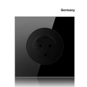 86 type 1 2 3 4 gang 1 2way black mirror glass wall switch panel LED light switch Industry France Germany UK socket with USB 19