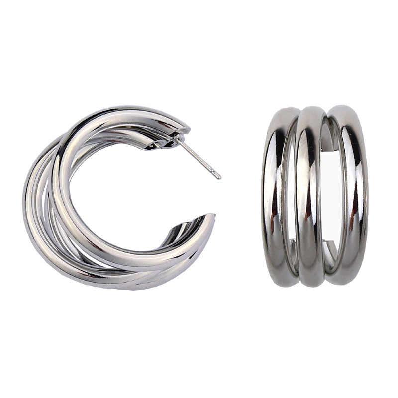 パンクゴールドシルバーカラーサークル合金のイヤリングヴィンテージ幾何ステートメントイヤリングボヘミアンファッションジュエリー