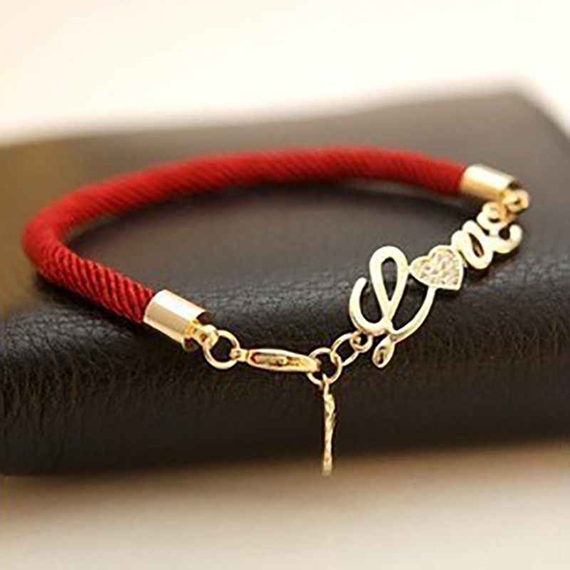 Free Shipping New Pierced Love Letters Red String Lovers Natal Lucky Red Thread Bracelet Women Jewelry Charm Bracelet