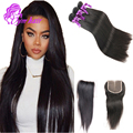 Aliexpress 8A Indian Silk Straight Virgin Hair Weave WIth Closure Raw Indian Hair 3 Bundles With Closure 100% Human Hair Weave