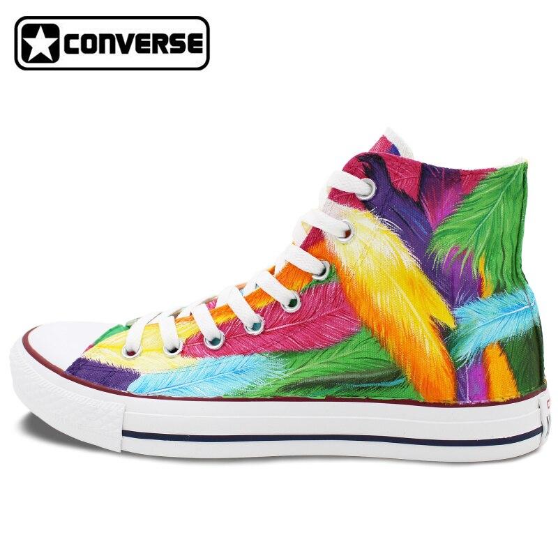 Prix pour Converse All Star Homme Femme Chaussures Personnalisé Coloré Plumes Design Original Peint À La Main Toile Chaussures Femmes Hommes Sneakers Cadeaux