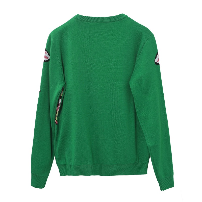 18 Autumn Winter Green Knitted Sweaters and Pullovers Women Runway Designer Double Fish Printed Female Ladies Jumper Clothes 4