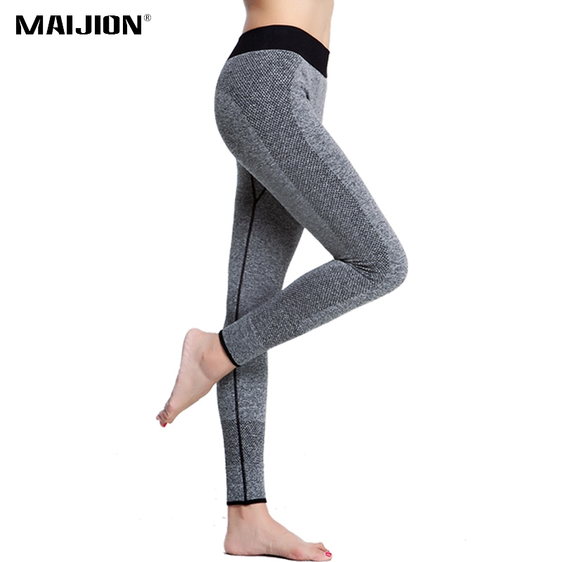 MAIJION Fitness Women Running Tights Pants Elastic Sports Pants , Seamless Fitness Sports Yoga Legging 9 Minutes Of Pants