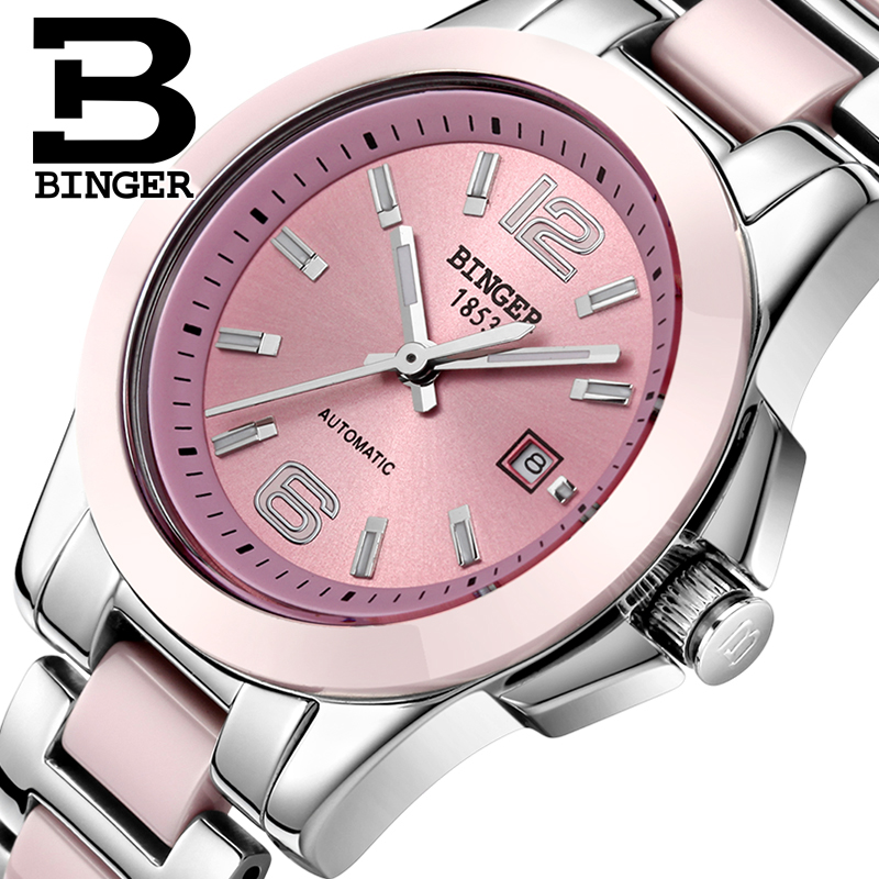 BINGER Luxury Women Casual Automatic Mechanical Dress Watch Ladies Ceramic Stainless Steel Calendar WristWatches Waterproof 661