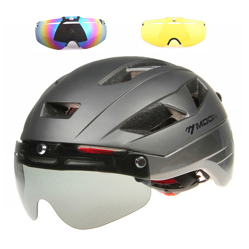 MOON 3 Lens Cycling Helmet Racing Aero TT Magnetic Goggles Mountain Road Bike Safety Helmets Sun