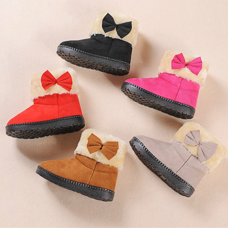 Fashion Toddler Girl Fur Winter Bootie Antiskid Warm Boots For Children Girls Snow Boots With Bow  Kids Rubber Boots Candy Color