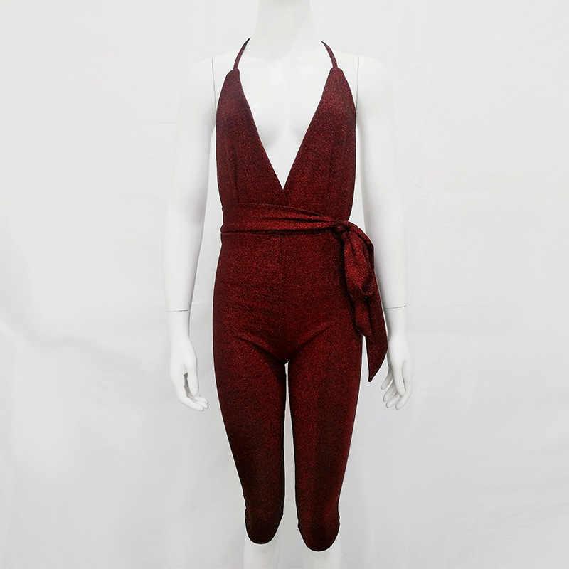 Aonibeier летние блестящие женские укороченные комбинезоны Модные без рукавов с глубоким v-образным вырезом с открытой спиной с высокой талией Облегающий комбинезон с поясом
