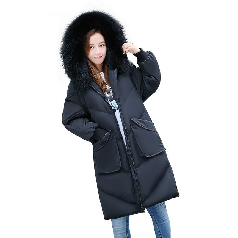 Winter Jacket Women 90% White Duck   Down     Coat   2018 New Fashion Women Warm   Down   Jacket Real Raccoon Fur Collar Hooded Parka