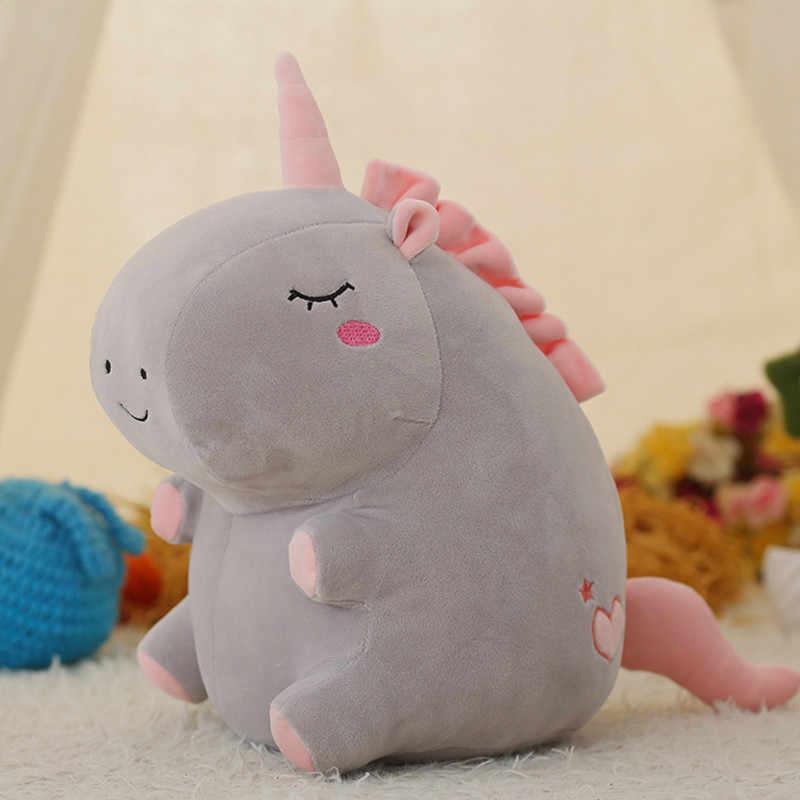 Popular 1 Pza 25cm unicornio de peluche de juguete unicornio gordo muñeca lindo animal relleno suave almohada bebé juguetes para niños niña cumpleaños regalo de Navidad