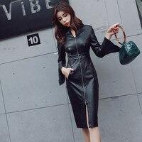 2019 New Fashion Sexy Women Pu Leather Dresses Zipper Slim Black Flare Sleeve Dress Elegant Female Faux Leather Dress Ma398