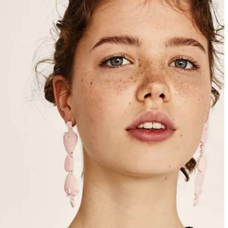 Best lady Hot Sale Charm Long Drop Statement Earrings For Women Bohemian Pinky Color Dangle Earrings Wholesale Fashion Jewelry