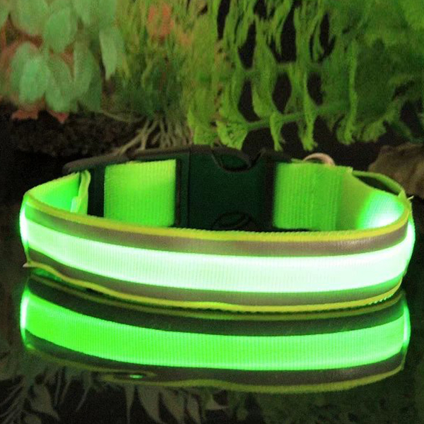 Safety Night Pets Dogs Lighted up LED Collar Striped Mesh Nylon Collar S M L XL