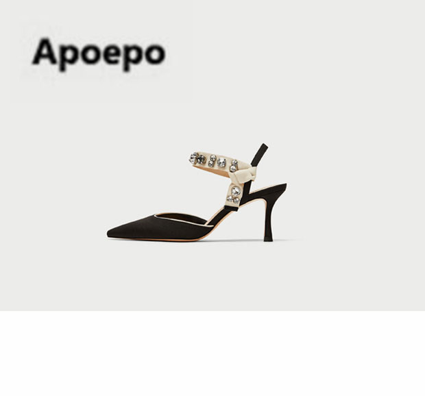 Apoepo brand butterfly-knot thin heel black white stiletto summer shoes women crystal pointed toe high heels sandals ladies 2018 odetina brand sexy women pointed toe slingbacks pumps summer ladies super high heels black women thin stiletto heel dress shoes