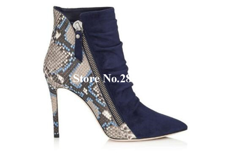 Top Selling Short Boots Snake Pattern Pleated Joint Pointed Toe Super High Heels Zipper Detail Ankle Booties Fashion Dress ShoesTop Selling Short Boots Snake Pattern Pleated Joint Pointed Toe Super High Heels Zipper Detail Ankle Booties Fashion Dress Shoes