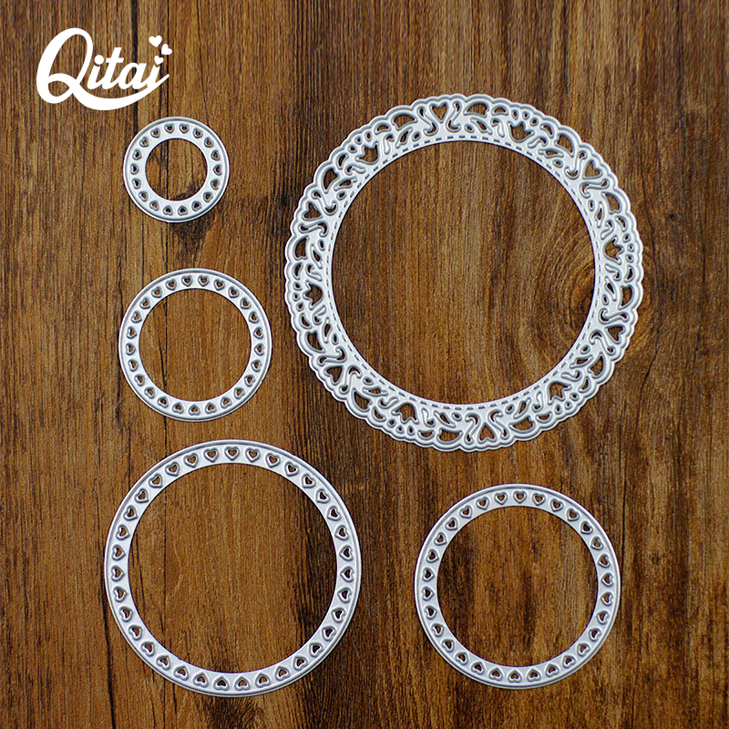 QITAI 5st / lot Cirkulär Form DIY Pretty Paper Cutter Cutting Die Metal Material För Creative Gift Decoration Scrapbooking D34