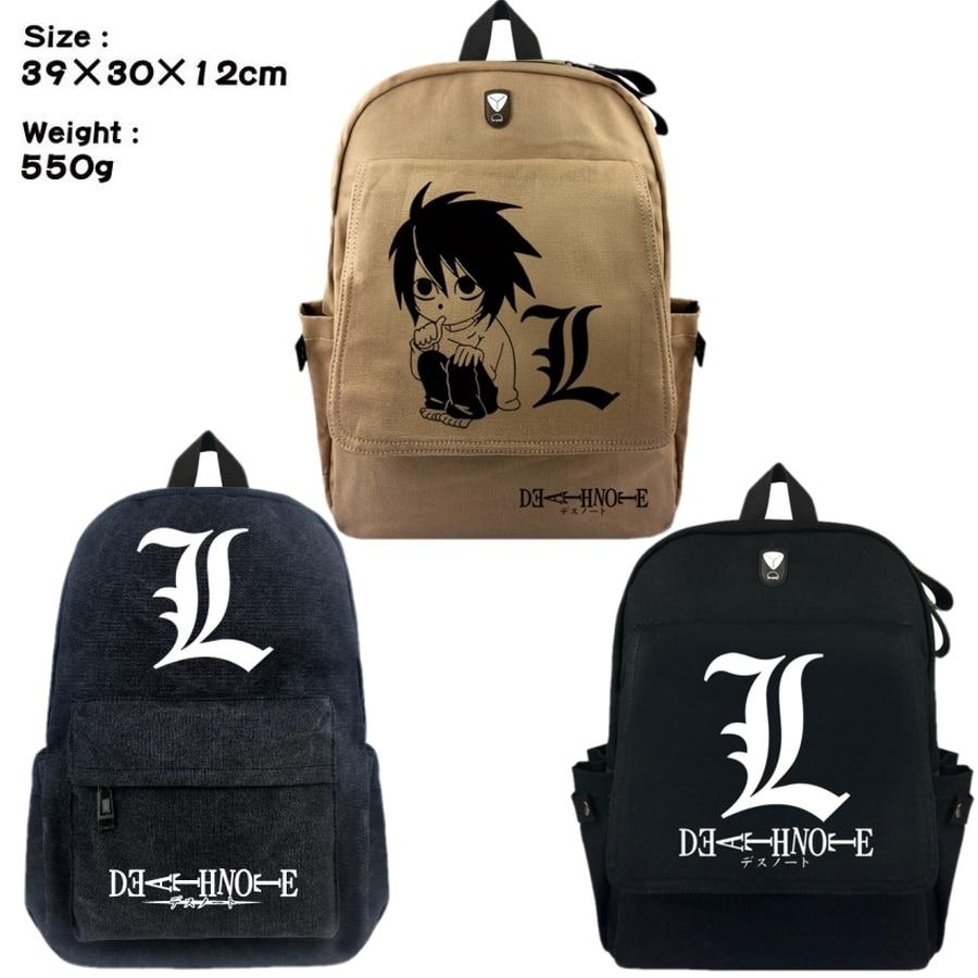 Anime Death Note L canvas Backpack Leisure knapsack School bag Zip shoulder bag