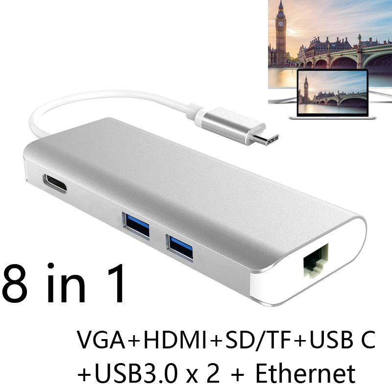 USB3.1 Type C HUB Multiport Type C PD Charging RJ45 Gigabit Ethernet USB 3.0 HDMI 4K SD TF Card Reader VGA Adapter for MacBook type c to 4k hdmi tv video adapter converter microsd tf sdhc sd card reader usb 3 0 hub for macbook for mac notebook computer