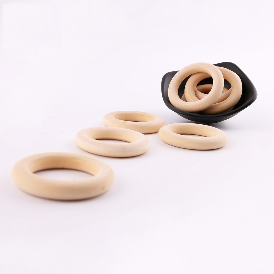5PC 56mm Maple Wooden Ring Food Grade Wood Chew Toys Baby Gifts Wooden Teething DIY Accessories Baby Products Baby Teether