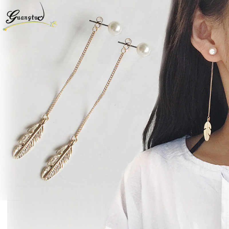 Vintage Long Chain Tassel Simlated Pearl Leaf Feather Drop Earrings For Women Wedding & Engagement Piercing Jewelry Brinco EB287