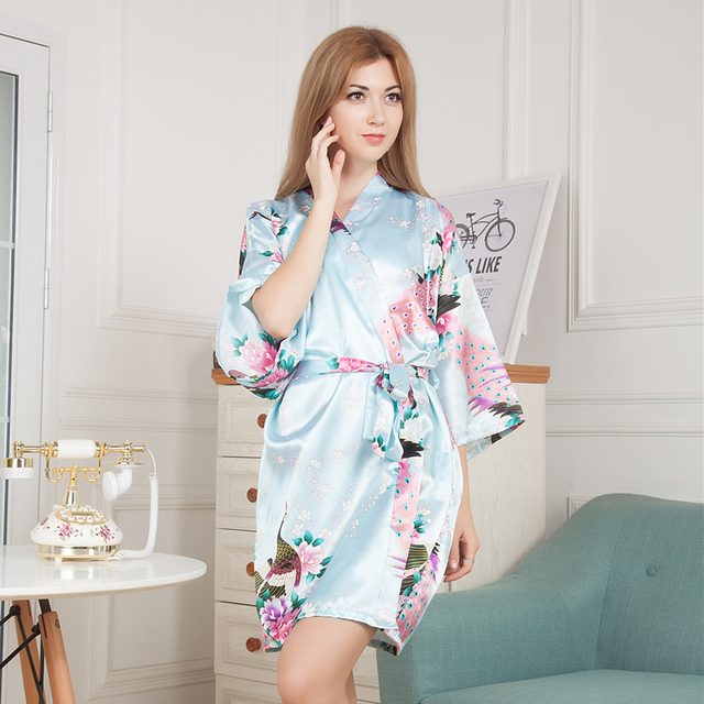 af2e59055f Flower Mid-sleeve Sexy Women Deep-V Nightwear Robes Satin Kimono Dress Gown  Bathrobes Sleepwear Bride Bridesmaid Wedding Robe