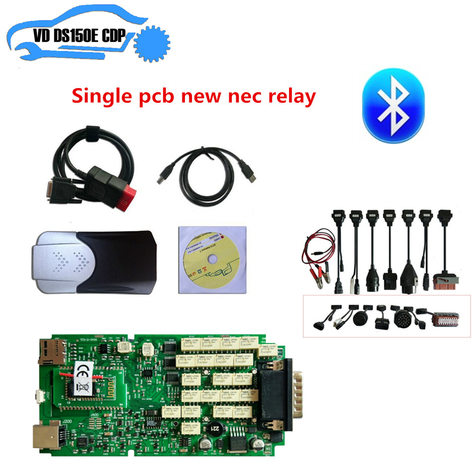 New Box For Delphis Vd Ds150e Cdp Pro Plus New Nec Relay+8 Pcs Full Set Car Cable For