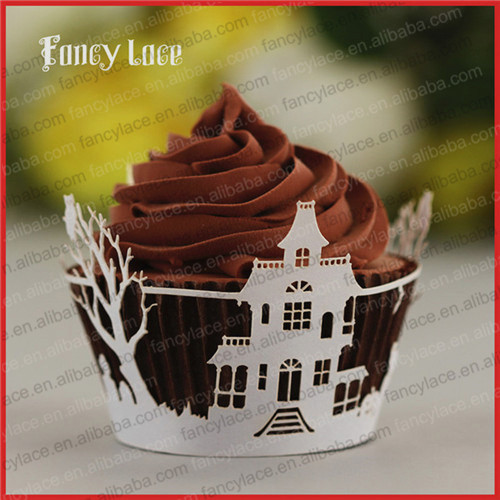 60pcs wholesale halloween decorations laser cut cupcake wrapperfour leave clover birthday table handmade paper
