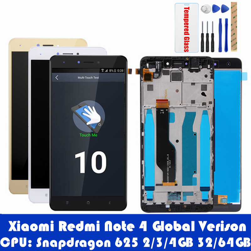 For Xiaomi Redmi Note 4 Global 4GB 64GB LCD Display Frame Touch Screen Panel Redmi Note 4 Pro Snapdragon 625 LCD Digitizer Parts