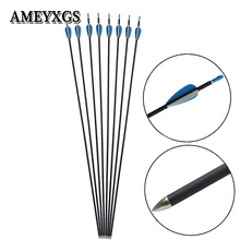 6/12pcs 31inch Archery Carbon Arrows 700 Spine Mix Shaft For Compound Recurve Bow Shooting Practice Hunting Acces