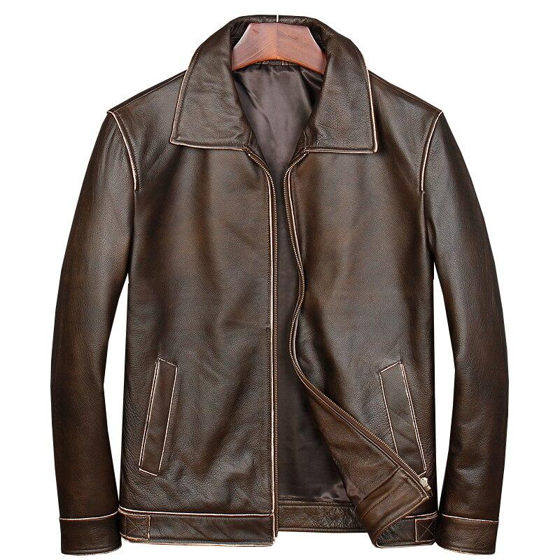 HARLEY DAMSON Vintage Brown Classico Casual Giacca di Pelle Più Il Formato XXXXXL Genuino Della Pelle Bovina Slim Fit Russo Cappotto di Pelle di Primavera