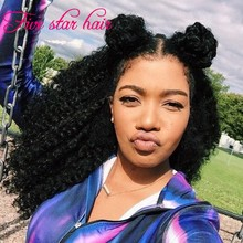 High Ponytail Full Lace Wig Glueless Virgin Kinky curly Brazilian hair Middle Part Lace front Human Hair Wigs with 4×4″ silk top