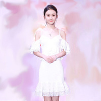 2019 Mini Dress Sexy Zhao Liying Celedrity Backless Lace Short Women Spaghetti Strap Night Club Body con Dresses Wholesale