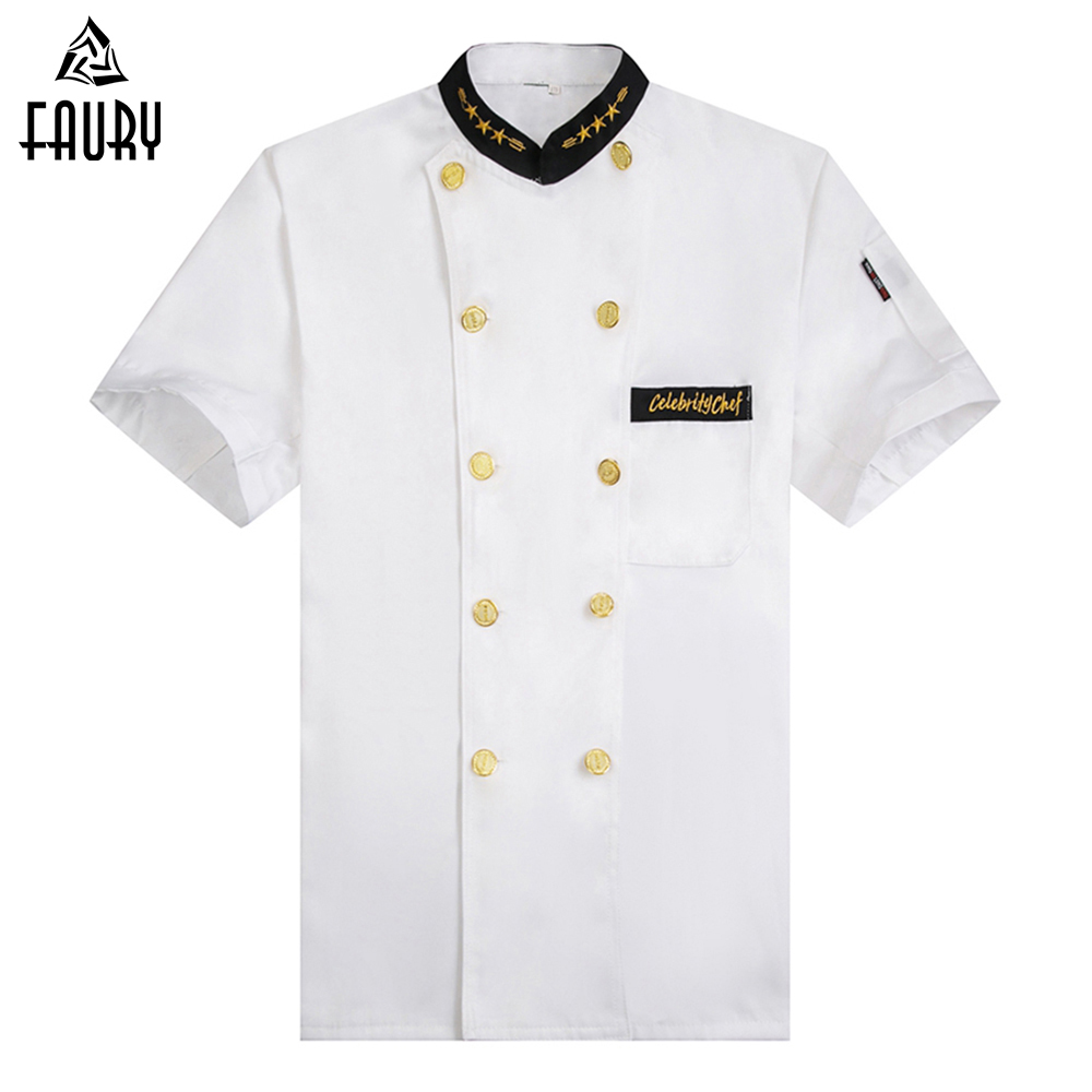 Wholesale White New Chef Jackets Kitchen Cooking Workwear Clothes Short Sleeve Restaurant Cozinha Double-breasted Bakery Uniform