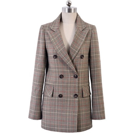 Drop Sale Friend Lilai Vintage Suit Jacket Elegant Formal Casual Coat Women's Plaid Blazers Geometric