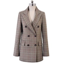 Friend Lilai Vintage Suit Jacket Elegant Formal Casual Coat Women's Plaid Blazers Geometric(China)