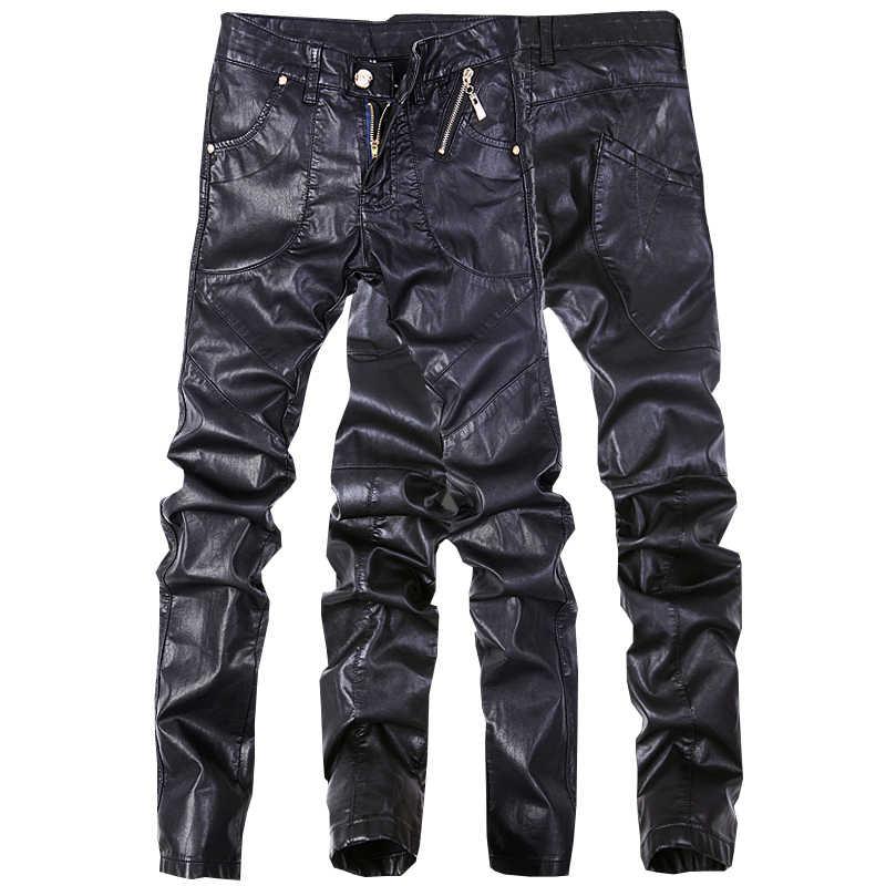 41f2db852ba8 Модные мужские джинсы Штаны узкие кожаные мотоциклетные прямые брюки размер  28-38 ...