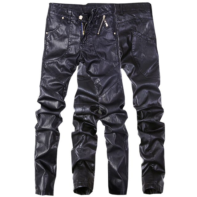 Fashion men jeans pants skinny leather motorcycle straight trousers size 28-38 A102