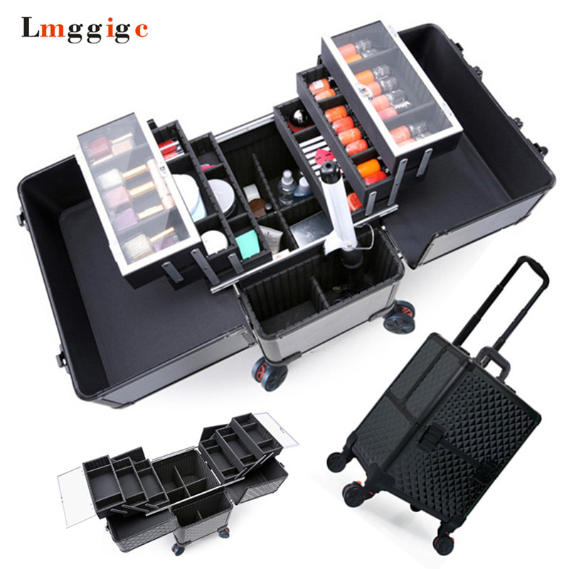 Aluminum frame+ABS Cosmetic Case,Makeup tool Box with wheels,Rolling beauty Suitcase Bag,Large capacity Make-up Trolley Luggage
