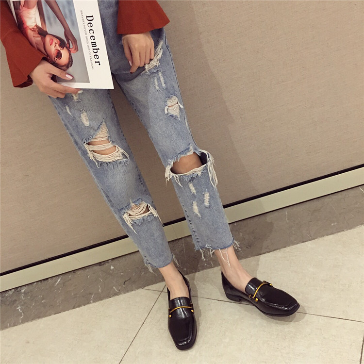 Fashion shoes for women 2018 new soft bottom British shoes woman square head single shoes female thick with flat shoes loafers 66