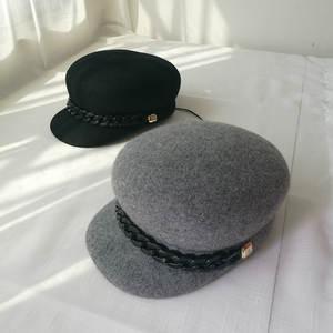 c5982be768a naziyu 01808-xu-M winter solid British style cap woman hat