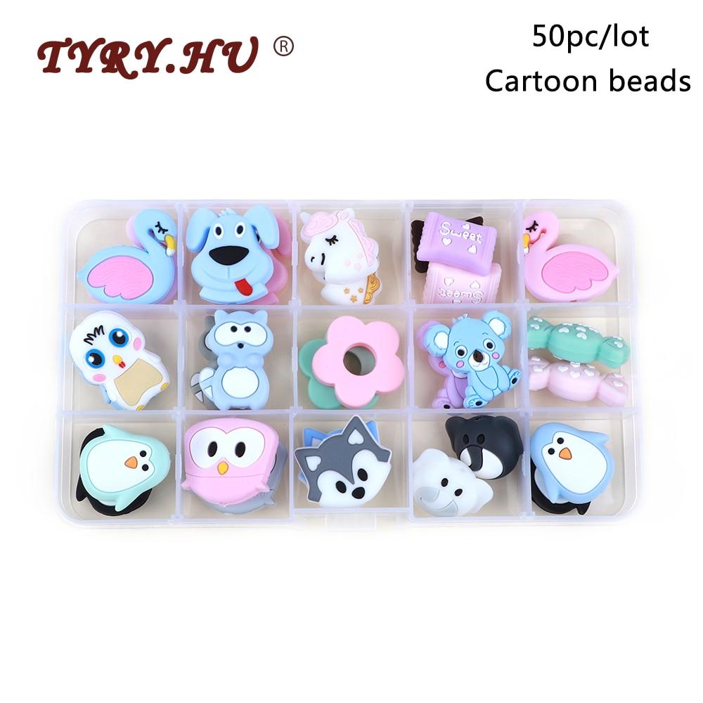 TYRY.HU 50pc/lot Cartoon Silicone Beads Unicorn Elephant Fox Penguin Dog Food Grade Baby Teether DIY Baby Teething Toys BPA Free