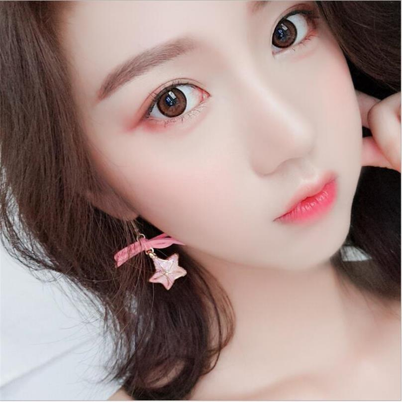 Korean Pink Tassel Acrylic Earrings 1