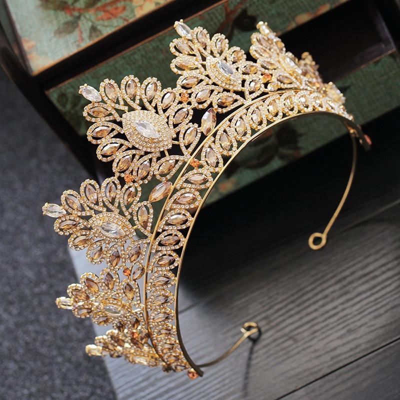 Image 4 - Champagne Rhinestone Baroque Bride Crown Korean Head Jewelry Wedding Hair Accessories Gold Crystal Pageant Tiaras Queen Crown-in Hair Jewelry from Jewelry & Accessories