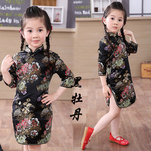 chinese style baby clothes 2019 autumn children clothing kids party wedding flower dress toddle girls dress chi-pao