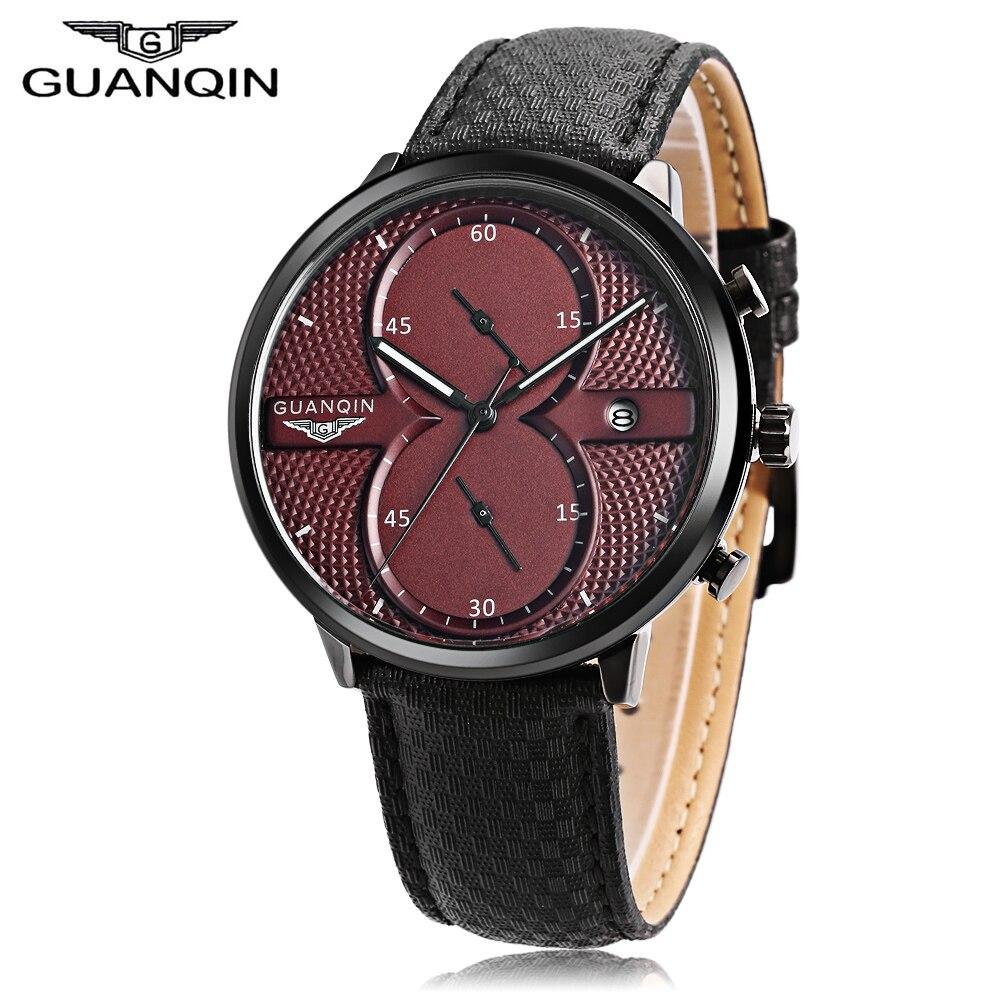 GUANQIN GS19014 Men Quartz Watch Date Chronograph Luminous Genuine Leather Band Wristwatch guanqin men quartz watch luminous calendar roman numerals scale chronograph wristwatch