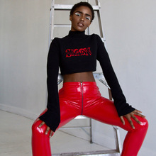 Sexy Shiny PU leather Leggings with Back Zipper Push Up Faux Leather Pants Latex Rubber Pants Jeggings Black Red